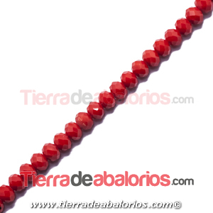 Bola Rondel Facetada 8x6mm Agujero 1,5mm Roja