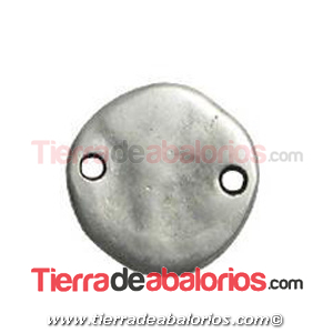 Moneda Conector Irregular 18mm, Plateado