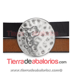 Pasador Circulo Martillado 26mm Agujero 20x2,5mm Plateado