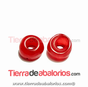 Resina Donut Irregular 7mm Agujero 2,5mm Rojo