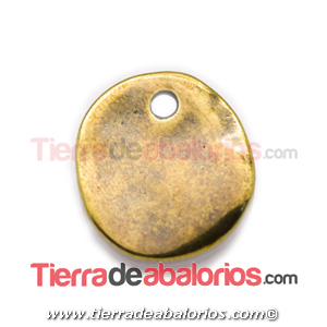 Moneda Lisa Irregular 25mm Agujero 3mm, Oro Viejo