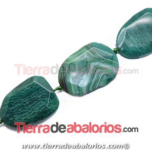 Agata Irregular Facetada 58x41mm Agujero 3mm, Verde Pradera