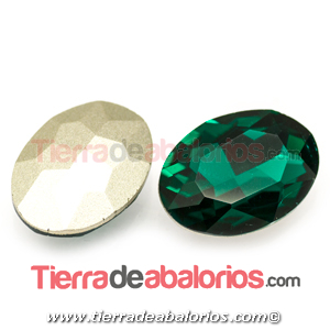 Cabujón de Cristal Checo Oval Facetado 18x13mm Emerald