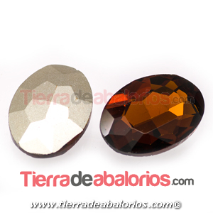 Cabujón de Cristal Checo Oval Facetado 18x13mm Smoked Topaz