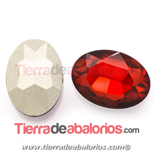 Cabujón de Cristal Checo Oval Facetado 18x13mm Light Siam