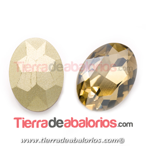 Cabujón de Cristal Checo Oval Facetado 18x13mm Golden Shadow