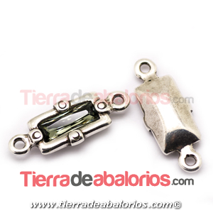 Conector 35x14mm Plateado con Swarovski Black Diamond