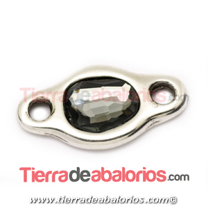 Conector 33x18mm Plateado Cabujón Black Diamond