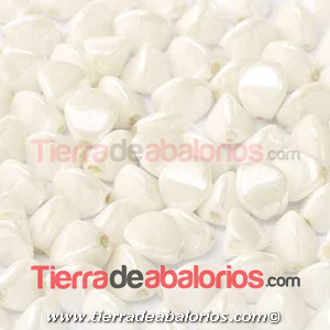 Pinch Beads 5x3mm White Ceramic Look (25 uds.)