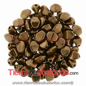 Pinch Beads 5x3mm Antique Gold (25 uds.)