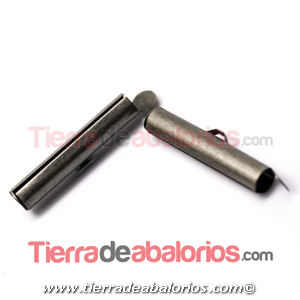 Terminal Tubo 26mm Agujero Lateral 3,7mm,  Plata Vieja