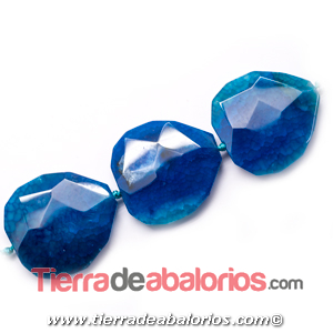 Agata Irregular Tallada 50x46mm Agujero 2,8mm, Azul