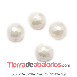 Nacar Bola Facetada 10mm Agujero 0,8mm Blanco