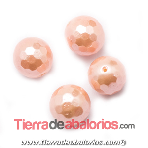 Nacar Bola Facetada 10mm Agujero 0,8mm Salmón