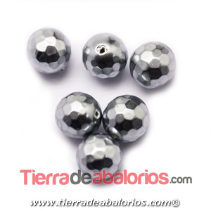 Nacar Bola Facetada 10mm Agujero 0,8mm Plateada