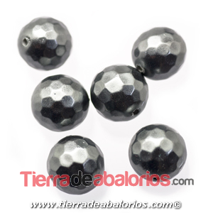 Nacar Bola Facetada 10mm Agujero 0,8mm Plomo