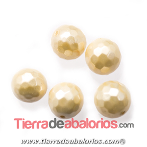 Nacar Bola Facetada 10mm Agujero 0,8mm Crema