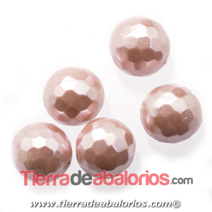 Nacar Bola Facetada 10mm Agujero 0,8mm Rosa