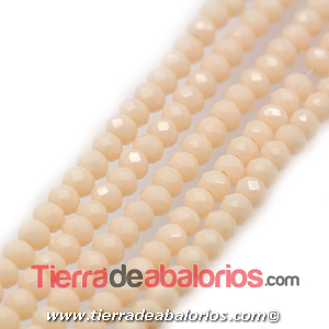 Bola Rondel Facetado 6x4mm Agujero 0,7mm, Beige