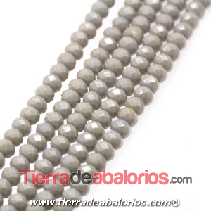 Bola Rondel Facetado 6x4mm Agujero 0,7mm, Gris