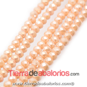 Bola Rondel Facetado 6x4mm Agujero 0,7mm, Perlado