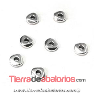 Entrepieza Irregular 5x1,9mm, Agujero 1,4mm, Plateado