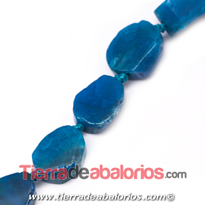 Agata Irregular 22x15mm Agujero 2mm, Azul