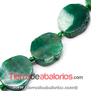 Agata Irregular 24x20mm Agujero 2,3mm, Verde