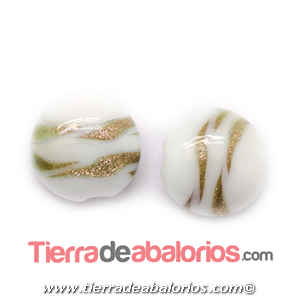 Moneda Murano 20mm Agujero 1,2mm, Blanco Irisado Oro