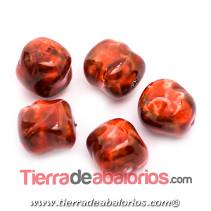 Perla Barroca Irregular 14x13mm, Rojo Coral Matrix
