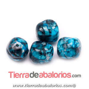 Perla Barroca Irregular 14x13mm, Azul Turquesa Matrix