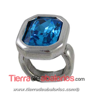 Anillo Ajustable Octogonal 24x19mm, Plateado