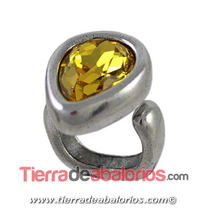 Anillo Ajustable Gota 25x19mm, Plateado