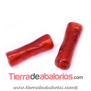 Resina Tubo Irregular 19x6,5mm Agujero 3,5mm, Rojo