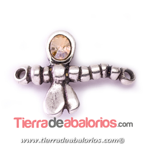 Conector Libelula 38x28mm Swarovski Golden Shadow, Plateada