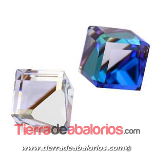 Cubo Swarovski Base Plana 6mm, Bermuda Blue