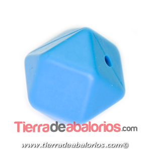 Hexagono Silicona 16mm Agujero 2mm, Azul