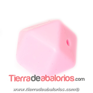 Hexagono Silicona 16mm Agujero 2mm, Rosa Bebé
