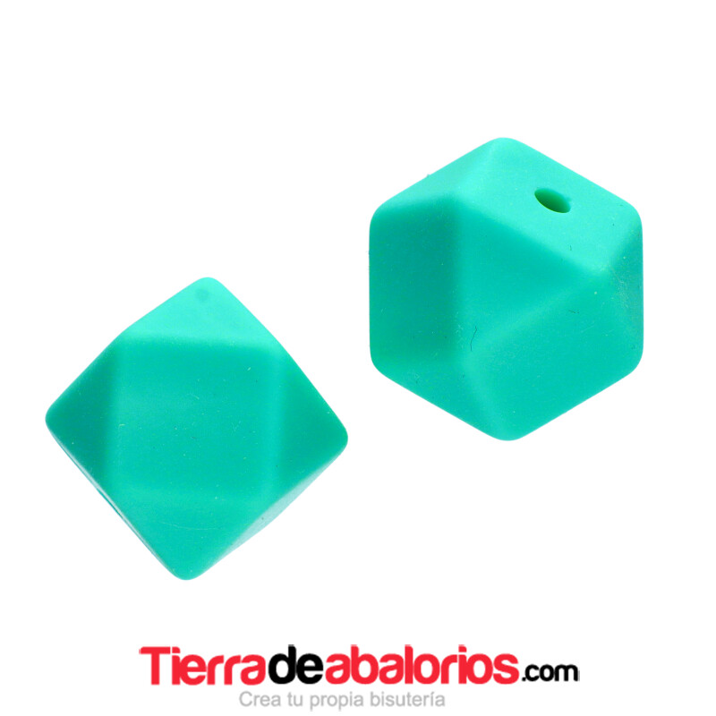 Hexagono Silicona 16mm Agujero 2mm, Turquesa Verde