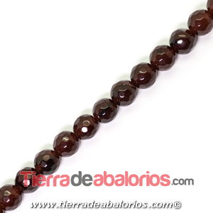 Jade Bola Facetada 6mm Agujero 1mm, Marrón