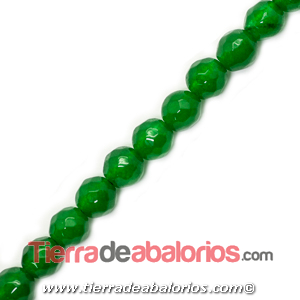 Jade Bola Facetada 6mm Agujero 1mm, Verde