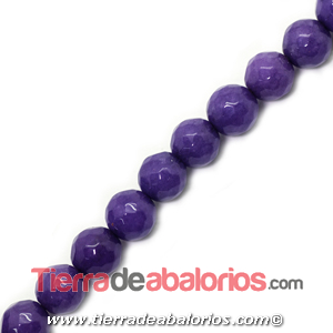 Jade Bola Facetada 6mm Agujero 1mm, Violeta