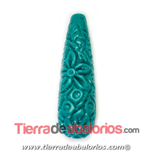 Resina Gota Tallada 36X11mm Agujero 1,5mm, Blue Zircon