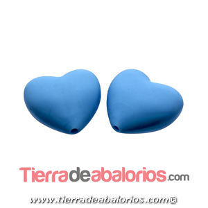 Corazon Silicona 19x20mm Agujero 2mm, Celeste