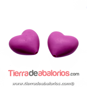 Corazon Silicona 19x20mm Agujero 2mm, Fucsia
