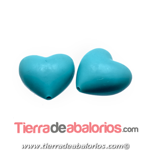 Corazon Silicona 19x20mm Agujero 2mm, Turquesa