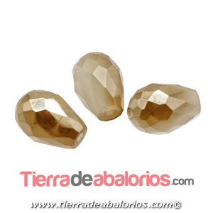 Gota de Cristal Facetada 12x8mm Agujero 1,3mm Golden Beige