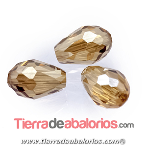 Gota de Cristal Facetada 12x8mm Agujero 1,3mm Golden Shadow