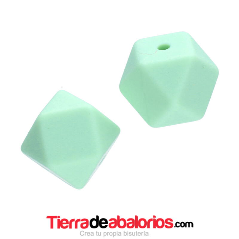 Hexagono Silicona 16mm Agujero 2mm, Verde Pastel