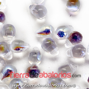 Drop Colgante 6x4mm Agujero 0,8mm, Cristal AB